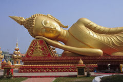 Big gold Buddha in Vientiane Royalty Free Stock Photography