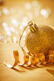 Big gold colored christmas bauble very close up view Royalty Free Stock Image