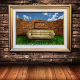 Big gold picture frame Royalty Free Stock Photo