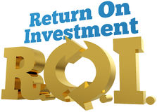 Big gold ROI Return On Investment words Royalty Free Stock Photography