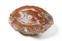 Big golden agate mineral on white background stock photos