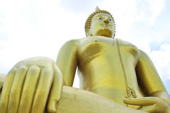 Big golden and art of buddha at Wat muang Royalty Free Stock Photo