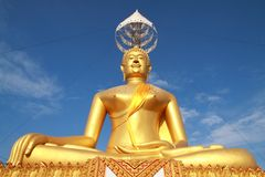 Big golden Buddha. Stay at top of the mountain, Thailand Stock Image