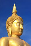 Big golden buddha with blue sky. Royalty Free Stock Photography