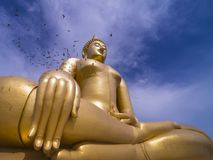 Big golden buddha. With blue sky Stock Photo