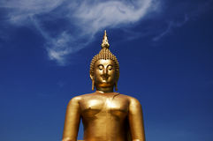 Big golden Buddha at blue sky Wat Muang of Ang Thong Royalty Free Stock Photos