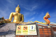 Big golden buddha and notice board. Stock Photography
