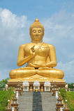 Big golden buddha souht of Thailand. The large golden buddha Narathiwat Thailand Stock Image