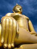 Big Golden Buddha statue. In angle of elevation view Royalty Free Stock Images