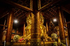 Big Golden buddha statue in midst of hall royalty free stock photography