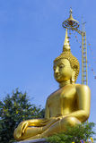 Big  golden buddha statue sitting in temple Stock Images