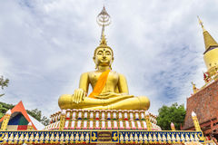 Big golden buddha statue sitting Royalty Free Stock Photos