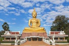 Big golden buddha statue sitting in thai temple Stock Image