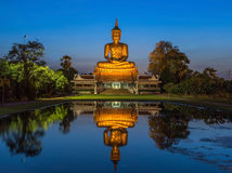 Big golden buddha statue sitting  in thai temple Royalty Free Stock Images