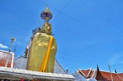 Big Golden Buddha statue in temple Stock Photography