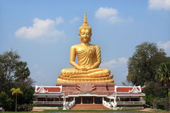 Big  golden Buddha statue in Thai  temple Stock Image