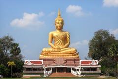 Big  golden Buddha statue in Thai  temple Stock Image