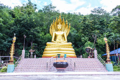 Big golden buddha statue in thai temple Stock Photography