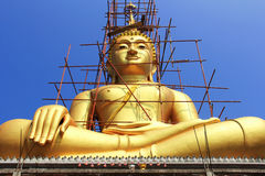 Big  golden Buddha statue under construction Stock Image