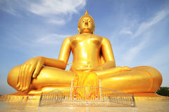 The big golden buddha statue of Wat Moung in Angthong province,. Thailand Royalty Free Stock Photo