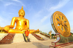 The big golden buddha statue of Wat Moung in Angthong province,. Thailand Royalty Free Stock Photos