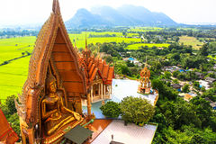 Big golden Buddha in temple, Kanchanaburi Thailand Royalty Free Stock Photography