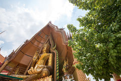 Big golden Buddha in temple, Kanchanaburi Thailand Royalty Free Stock Photos