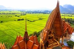 Big golden Buddha in temple, Thailand Stock Photos