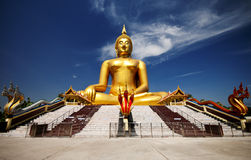 Big golden Buddha at Wat Muang of Ang Thong province Stock Photography