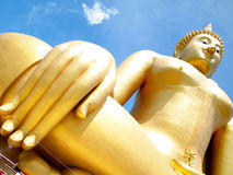 Big golden Buddha at Wat Muang of Ang Thong province Royalty Free Stock Images