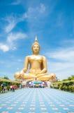 Big golden Buddha at Wat Muang of Ang Thong province Thailand Stock Image