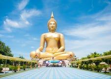 Big golden Buddha at Wat Muang of Ang Thong province Thailand royalty free stock image