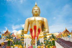 Big golden Buddha at Wat Muang of Ang Thong province Thailand Stock Image