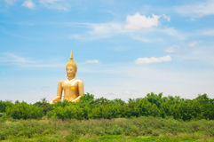 Big golden Buddha at Wat Muang of Ang Thong province Thailand Royalty Free Stock Images