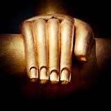 Big golden Buddhas hand. Thailand Royalty Free Stock Images