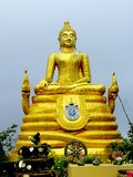 Big Golden Buddhist Sculpture in Thailand stock photography