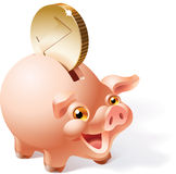 Piggy bank. Big golden coin is dropping into a smily pink piggy bank. Vector illustration Royalty Free Stock Photo