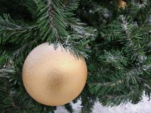 Big Golden decoration hanging on the Christmas tree branch stock image