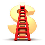 Big golden dollar symbol and red success ladder Stock Photo