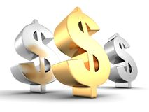 Big golden dollar symbol and two silver. 3d Stock Images