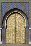 Big golden doors of the royal palace of Fes, Morocco Stock Photos