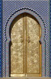 Big golden doors of the royal palace of Fes, Morocco Stock Photography