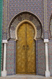 The big golden doors of the royal palace of Fez Royalty Free Stock Images