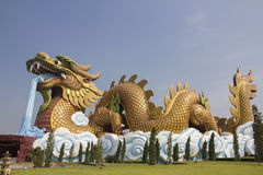 Big golden dragon statue Stock Image