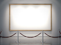 Big golden frame on the white wall. 3d rendering Royalty Free Stock Image