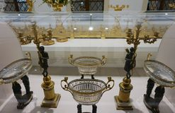 Big golden fruitmenation of the Habsburg family in the Imperial Silver Collection at the Hofburg.  stock photos