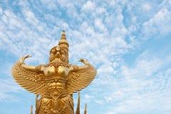 Big golden garuda statue. Royalty Free Stock Photography