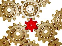 Big golden metallic gears. Somes big golden metallic gears with only one red stock photos
