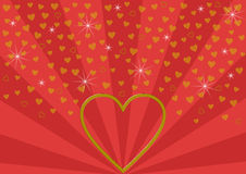 Big golden open heart on red beam pattern Stock Photo