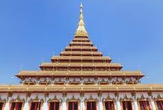 Big golden pagoda Phramahathat Khan Nakhon or Phra That Nong Waeng public thai buddhist temple Khon Kaen, Thailand. Big golden pagoda Phramahathat Khan Nakhon or Royalty Free Stock Image